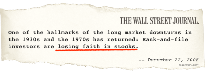 WSJ: Investors Losing Faith in Stocks